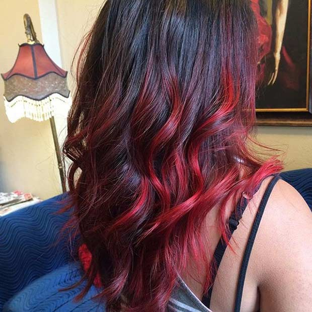 Bright Vibrant Red Ombre Hair