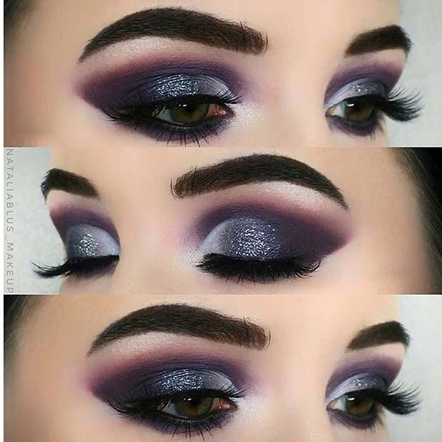 Lila Glitter Smokey Eye Look