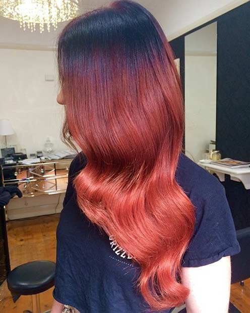 Deep Dark Red to a Vibrant Candy Red Ombre Hair